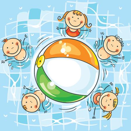 pool ball: Los ni�os peque�os jugando a la pelota en la piscina