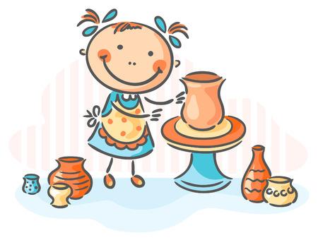 グラデーションと、創造的な活動として陶器を作る  イラスト・ベクター素材