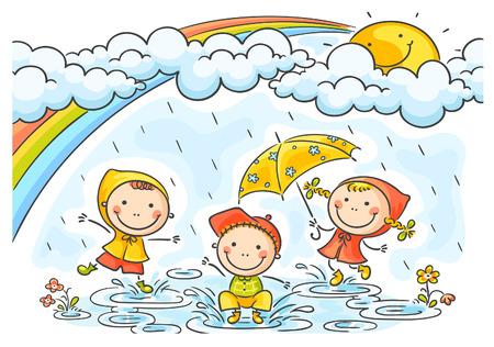 Šťastné děti si hrají v dešti
