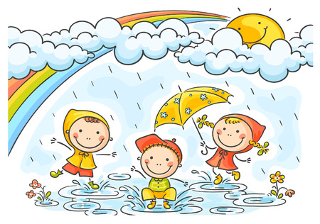 rainbow umbrella: Happy kids playing in the rain Illustration