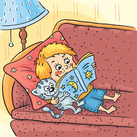 reading lamp: Little boy is reading a book with his cat