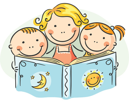 cartoon reading: Happy mother and kids reading together