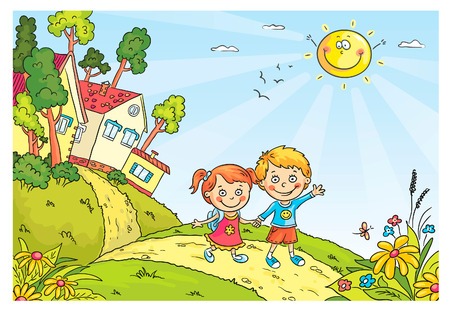 Happy kids walking in the countryside Vector