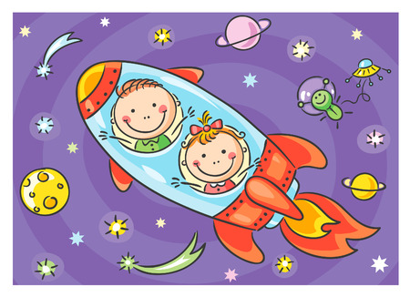 exploring: Children exploring space, no gradients Illustration