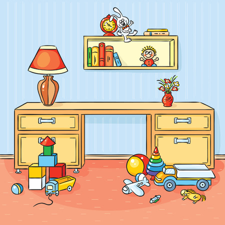 playroom: Cartoon children room with a lot of toys scattered on the floor