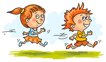 child running: Happy boy and girl running quickly