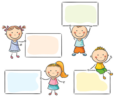 child holding sign: Cartoon kids with blank signs