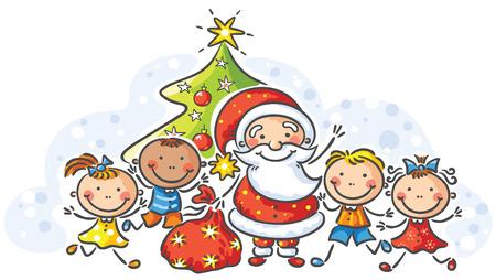 Cartoon Santa with happy kids