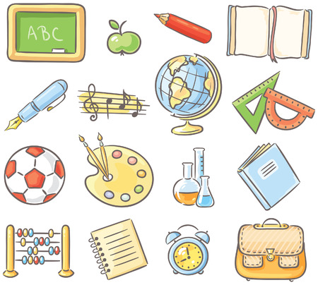 Set of 16 school thing representing different school subjects, no gradients
