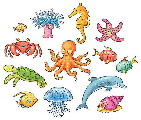 Set of cartoon sea animals, no gradients Vector