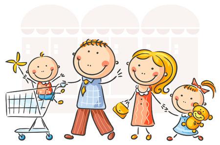 Familia de cuatro haciendo compras