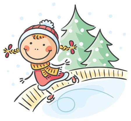 winter girl: Little girl winter activities: skating Illustration