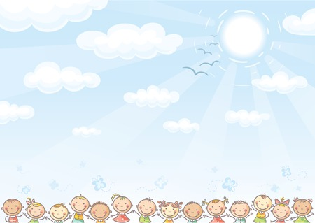 Blue background with sky and lots of kids 向量圖像