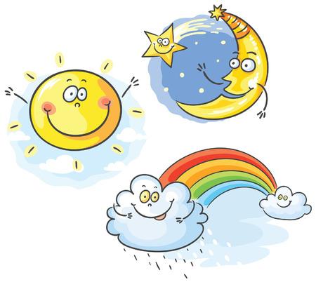 luna caricatura: Conjunto de dibujos animados de la luna, las nubes y el sol, no hay gradientes