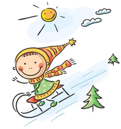 sledging: Little girl Illustration