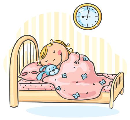 Little girl sleepeng in her bed Vector