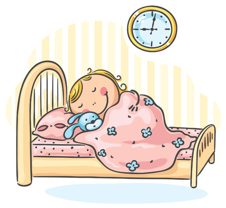 cartoon little girl: Little girl sleepeng in her bed