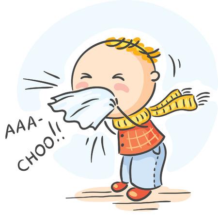 Cartoon kind heeft griep gekregen en is niezen