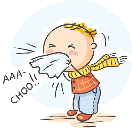 estornudo: Niño de la historieta tiene la gripe y está estornudando