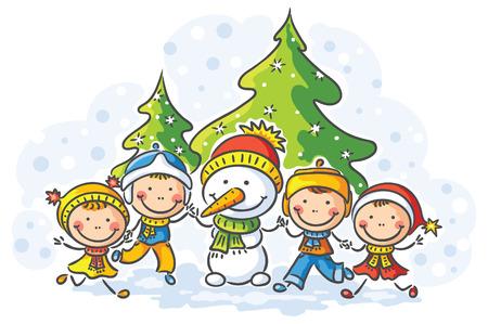 Výsledek obrázku pro obrázky děti a sněhulák
