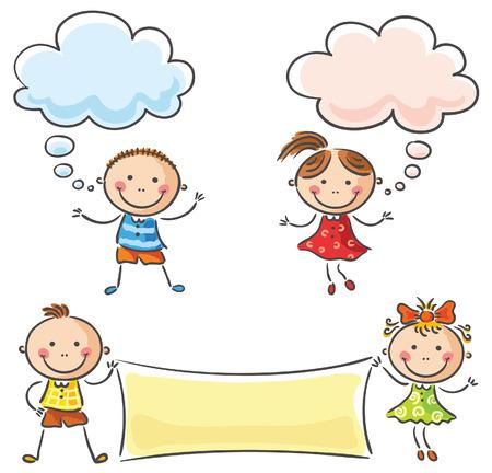 niños con pancarta: Felices los niños con signos en blanco Vectores