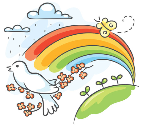 the sprouting: Spring drawing with a bird and rainbow Illustration