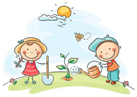 regar las plantas: Felices los niños de dibujos animados de actividades de primavera