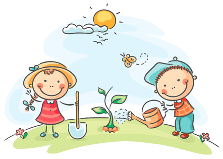 watering plants: Happy cartoon kids spring activities Illustration