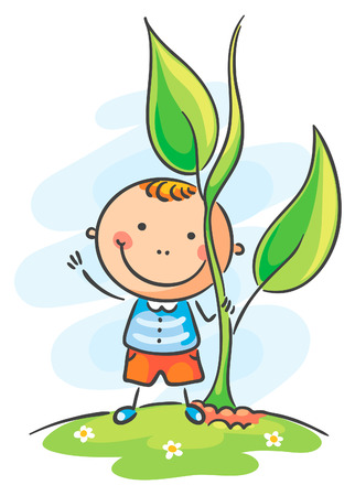 sprout growth: Happy child and giant sprout Illustration