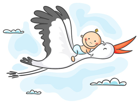 diaper baby: Stork carrying a happy baby