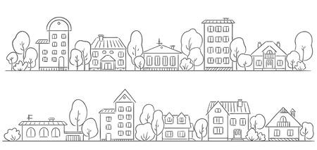 fila: Los árboles y las casas en una fila para el marco  frontera