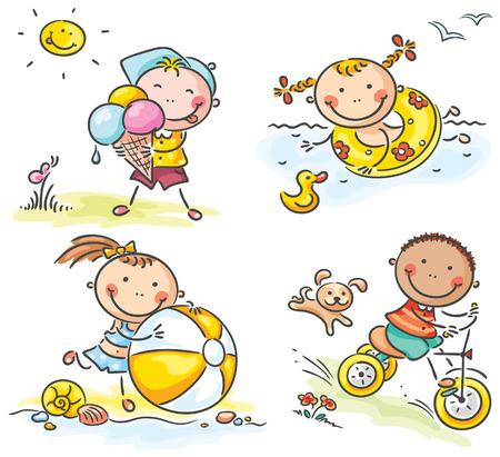 여름에 야외 행복한 아이들이 활동