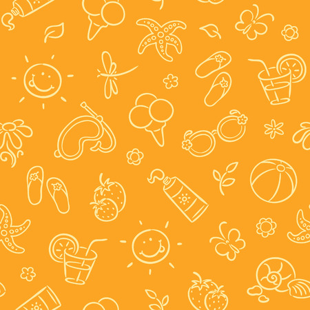 sunscreen: Seamless pattern with summer things
