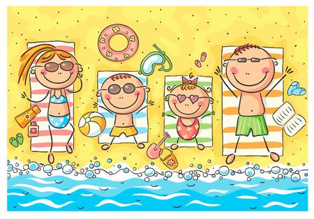 sonnenbaden: Eine glückliche Familie am Meer