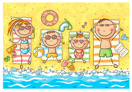 A happy family at the seaside Illustration