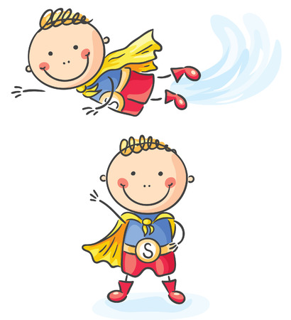 Superhero little boy flying and standing