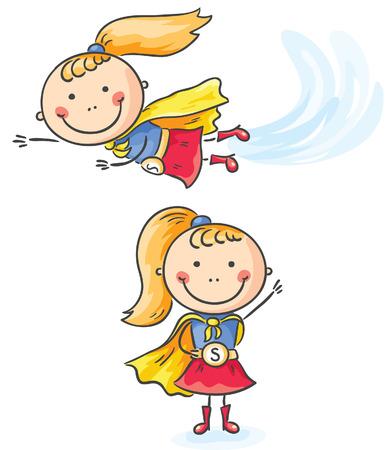 Superhero little girl flying and standing Vector