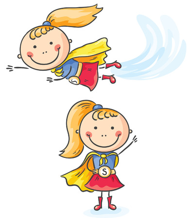 Superhero little girl flying and standing