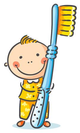Kleiner Junge mit einem riesigen Zahnbürste