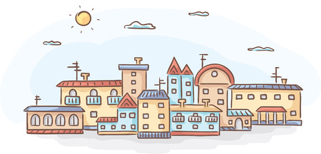 row of houses: Group of hand-drawn houses, no gradients Illustration