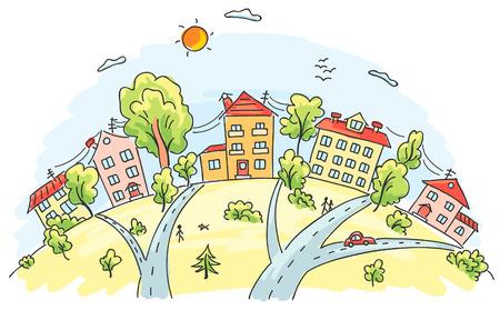 Cartoon town on a hill Иллюстрация