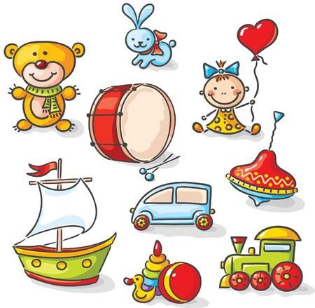 toy boat: Set of colorful cartoon toys Illustration