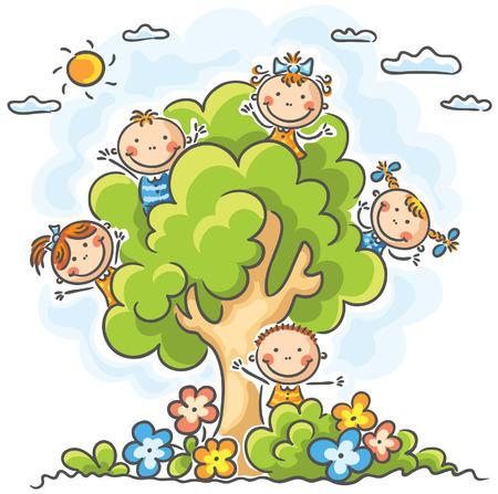Felices los niños jugando en el árbol Ilustración de vector