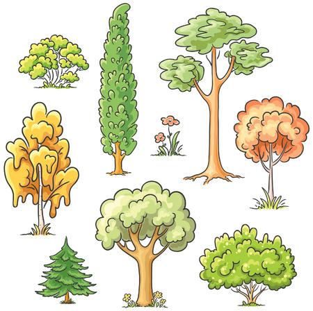 Set of different cartoon trees Иллюстрация