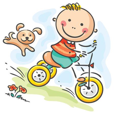 driewieler: Kleine jongen rijden zijn driewieler Stock Illustratie