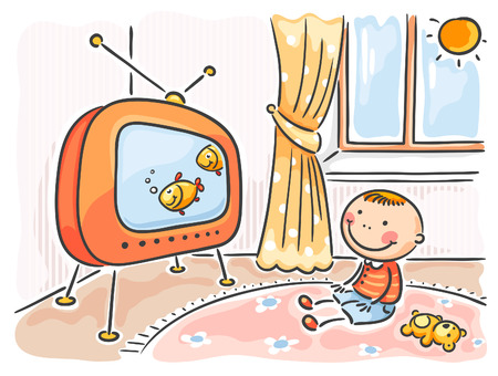 Little child watching TV in his room
