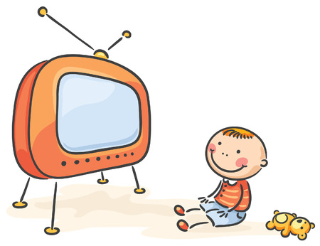 programm: Little child watching TV, isolated