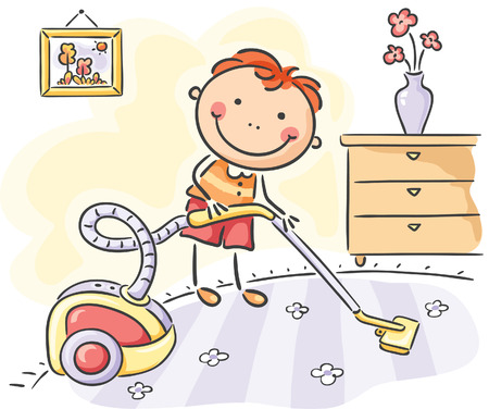 Little boy helping his parents with the housework