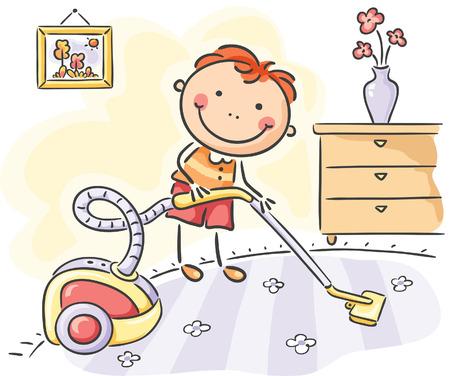 Niños ayudando: Niño pequeño ayudando a sus padres con las tareas del hogar
