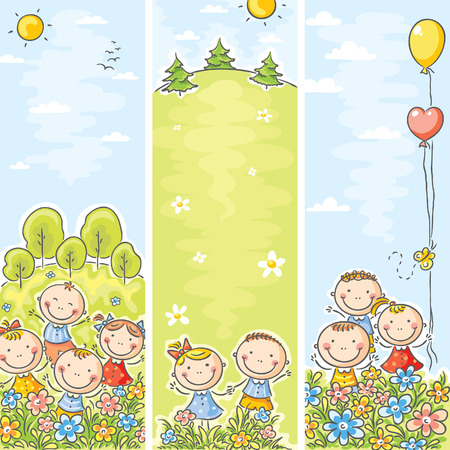 niños con pancarta: Vertical niños felices pancartas con espacio de copia Vectores